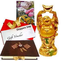 Stunning Gift Combo of Shoppers Stop Coupon, Feng Shui Laughing Buddha, 12 Pcs. Assorted Home Made Chocolates and Best Wishes Card