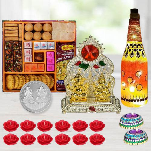 Special Diwali Gift of Ganesh Laxmi Mandap, Diya, Lamp, Sweets, Snacks, Candles n Free Coin