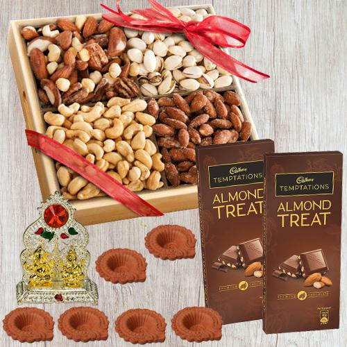 Lovely Wooden Tray of Premium Salted Dry Fruits, Laxmi Ganesh Mandap n Free Diya for Diwali