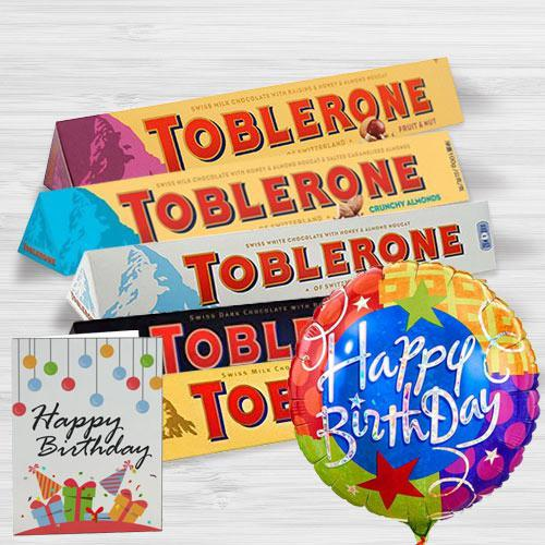 Delectable Toblerone Chocolates with Birthday Mylar Balloon