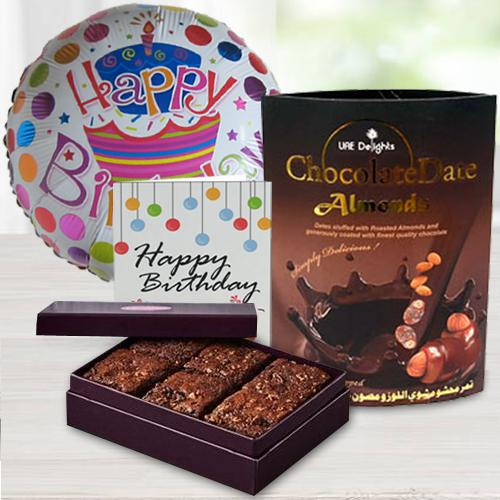 Remarkable Chocos Pack with Brownie N Birthday Mylar Balloon
