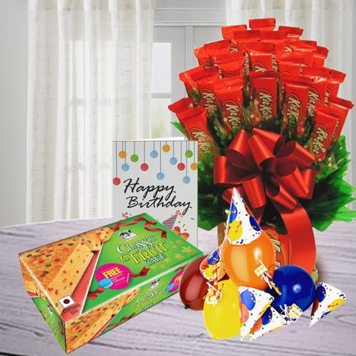 Exquisite Kitkat Bouquet with Party Accessories n Fruit Cake