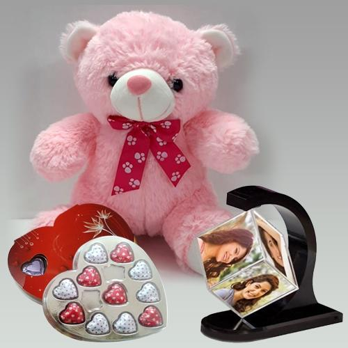 Ravishing Valentine Gift of Personalized Photo Revolving Stand with Teddy n Chocolate