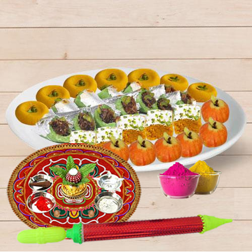 Delectable Assorted Sweets from Bhikaram with Pooja Thali N Holi Colors