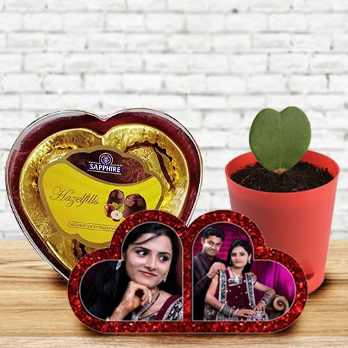 Impressive Personalized HB Double Heart, Zoya Heart Plant n Sapphire Chocolate