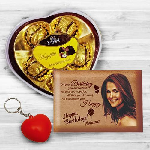 Alluring Personalized Love Frame, Heart Key Ring n Sapphire Chocolates