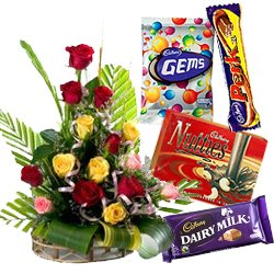 Fabulous Mixed Roses Arrangement with Assorted Cadbury Chocolates