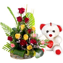 Pretty Mixed Roses Arrangement with Teddy