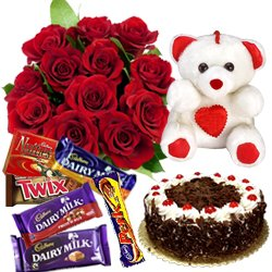 Dutch Roses Bouquet with Cake, Teddy N Assorted Cadbury Chocolates