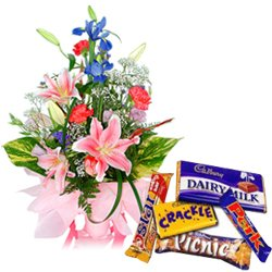 Stunning Assorted Flowers Arrangement with Assorted Cadbury Chocolates