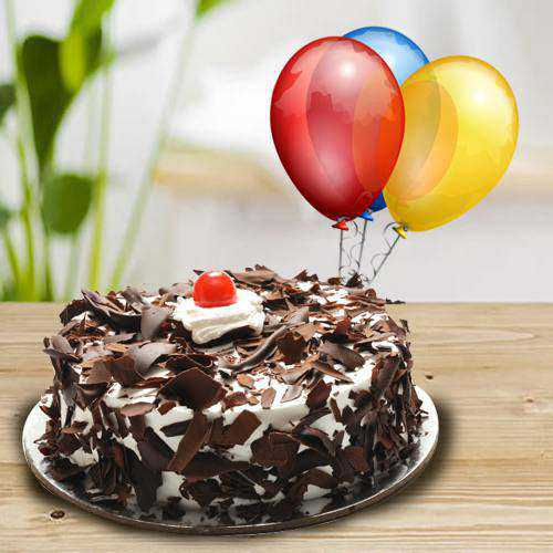 Rich Black Forest Cake with Balloons