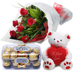 Luxury Ferrero Roacher with Fresh Rose Bouquet and Teddy