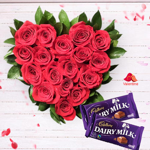 Red Roses in Heart Shape Arrangement with Cadbury Dairy Milk