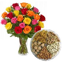 Yummy Assorted Dry Fruits with Bouquet of Mixed Colour Roses