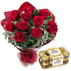 Fresh from the Garden Red Rose Bouquet with Ferrero Rocher Chocolates