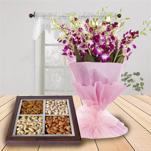 Stunning Orchids Bouquet N Dry Fruits Tray