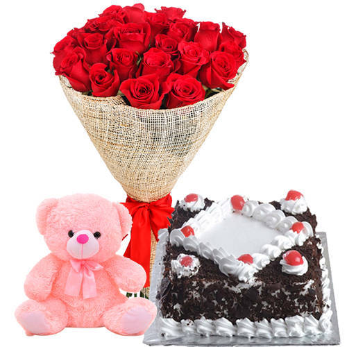 Marvelous Red Rose Bouquet with Black Forest Cake N Teddy