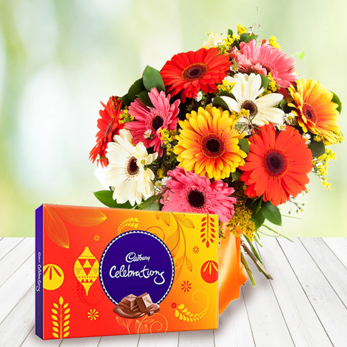 Anniversary Celebration Combo of Cadbury and Mixed Gerbera Bouquet