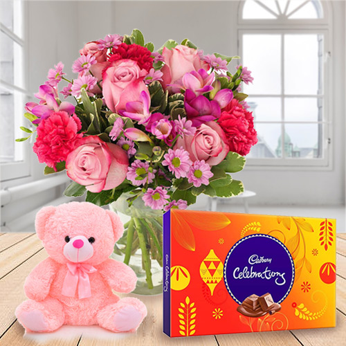 Anniversary Charm Combo Pack of Mixed Flowers, Cadbury Celebration and Small Teddy