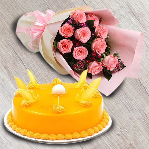 Luscious Mango Flavour Cake with Red Roses Bouquet