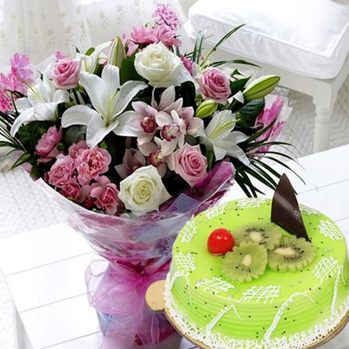 Mixed Flowers Bouquet with 1 kg Kiwi Cake