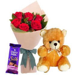 Delightful Red Roses Bouquet with Teddy N Cadbury Dairy Milk Silk