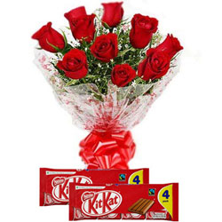 Attention-Getting Red Roses Bouquet with Nestle Kit Kat