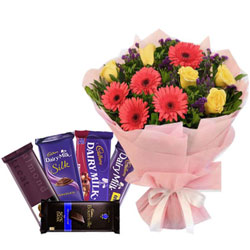 Luxurious Assorted Cadbury Chocolates with Mixed Flowers Bouquet