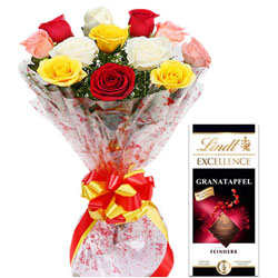 Sumptuous Lindt Excellence Bar with Mixed Roses Arrangement