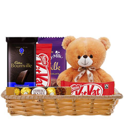 Gift Hamper of Delightful Chocolates with Teddy
