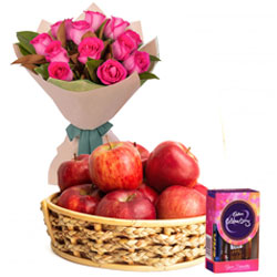 Present Online Fresh Apples Basket with Cadbury Celebration and Pink Roses