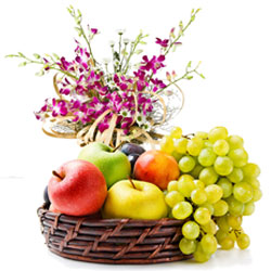 Premium Selection of Orchids Bouquet with a Basket of Fresh Fruits