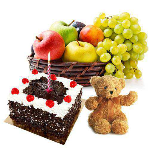 Exclusive Teddy with Candles, Fresh Fruits Basket and Black Forest Cake