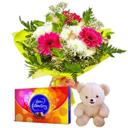 Wonderful Flowers Bouquet with Small Teddy and Cadbury Celebrations Pack