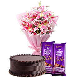 Tasty Dairy Milk Silk Chocolates with Lilies Bouquet and Chocolate Cake