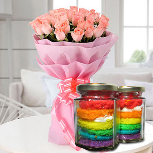 Special Rainbow Jar Cakes with Pink Roses