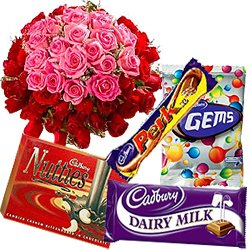 Brilliant Rose Bouquet with Assorted Cadbury Chocolates