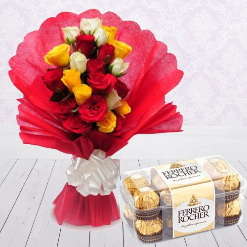 Exquisite Rose Arrangement with Ferrero Rocher