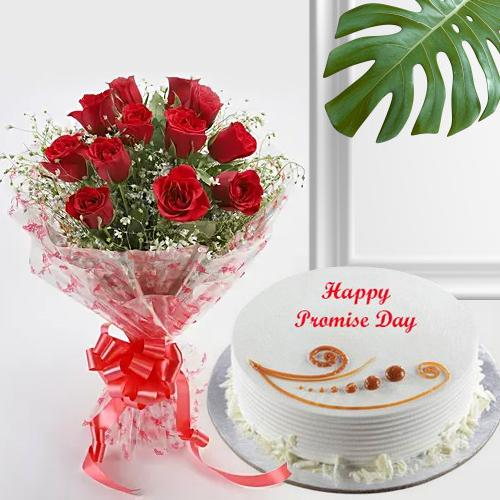 Exquisite Pink Roses Bouquet with Happy Promise Day Cake