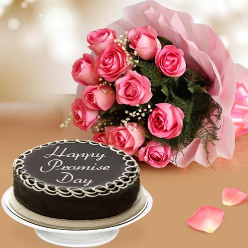 Most Promising Gift of Dark Chocolate Cake with Pink Rose Bouquet