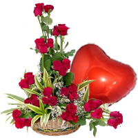 Heart Shaped Balloon with Red Roses Combo