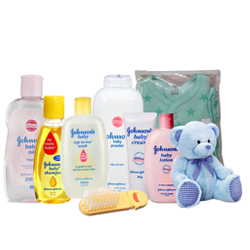 Wonderful Johnson Baby Care Pack with Teddy