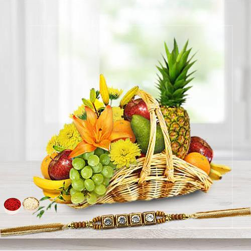Fresh Fruit Basket 5 Kg with 1 Regular Rakhi and Roli Tilak Chawal