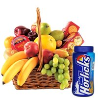 Delicious Fruits Basket with Horlicks and Biscuits