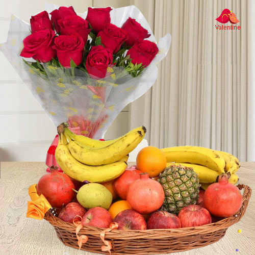Red Roses Bouquet with Fresh Fruits Basket