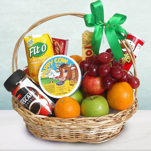 Bountiful Fresh Fruits N Gourmet Fusion Gift Basket