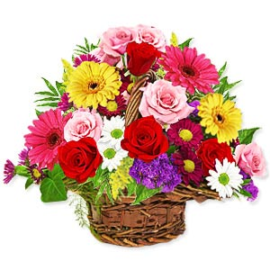 Amazing Basket of Mixed Flowers
