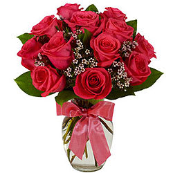 Elegant Red Roses in a Glass Vase