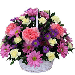 Awesome Basket of Carnations and Roses