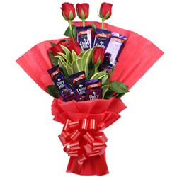 Sublime Love Treat Conclave of Red Rose and Cadbury Chocolates